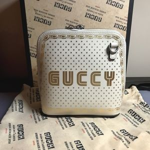 Gucci White/Gold Leather Mini Gucci Shoulder Bag